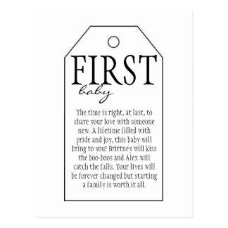 Cartão Postal Tag do presente para a garrafa de vinho - primeiro