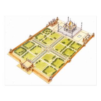 Cartão Postal Taj Mahal. Adra India. Túmulo e jardins