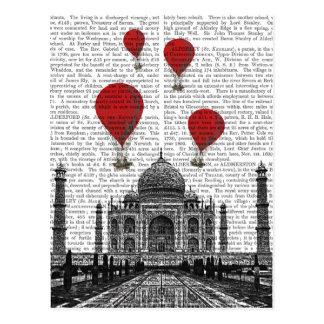 Cartão Postal Taj Mahal e balões de ar encarnados