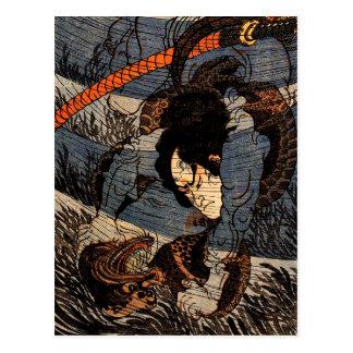 Cartão Postal Takagi Toranosuke que captura um underwater do