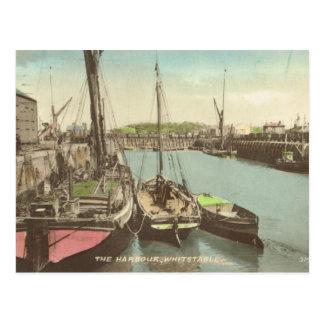 Cartão Postal Tamisa barges dentro o porto de Whitstable