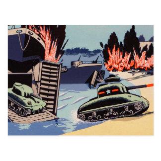 Cartão Postal Tanques retros do dia D do kitsch do vintage na