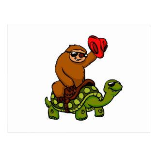 Cartão Postal Tartaruga da equitação da preguiça do vaqueiro