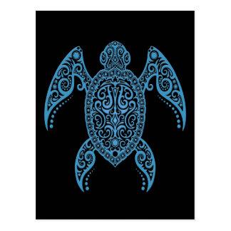 Cartão Postal Tartaruga de mar preta e azul intrincada