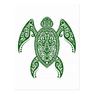 Cartão Postal Tartaruga de mar verde intrincada no branco