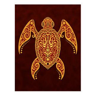 Cartão Postal Tartaruga de Mar Vermelho dourada intrincada