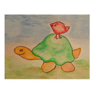 Cartão Postal Tartaruga e pássaro que vão para uma caminhada