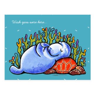 Cartão Postal Tartaruga e peixe-boi de mar