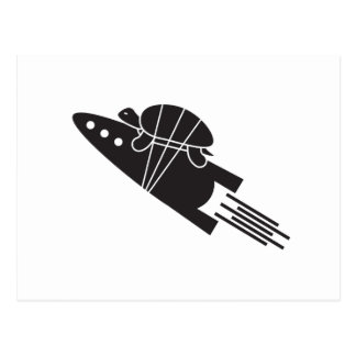 Cartão Postal tartaruga que monta um 🐢🚀 do foguete