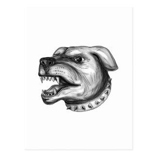 Cartão Postal Tatuagem da rosnadura da cabeça de cão de