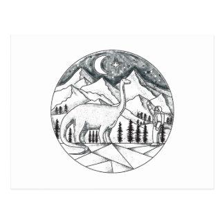 Cartão Postal Tatuagem das montanhas do astronauta do