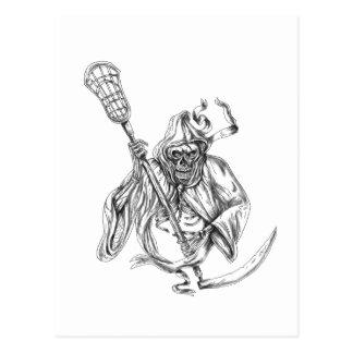 Cartão Postal Tatuagem de Pólo da defesa do Lacrosse do Ceifador