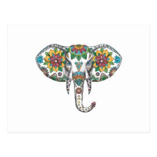 Cartão Postal Tatuagem principal da mandala do elefante