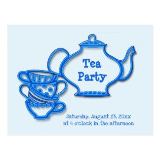 Cartão Postal Tea party com chaleira e copos
