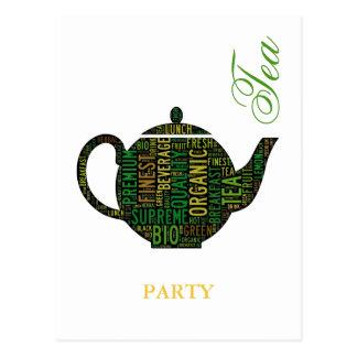 Cartão Postal Tea party - design de texto preto do bule