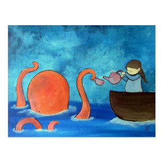 Cartão Postal Tea party lunático do polvo da menina da arte dos