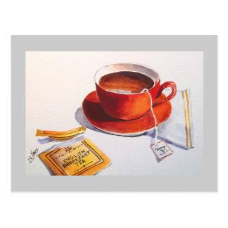 Cartão Postal Teacup vermelho com saquinho de chá