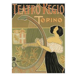 Cartão Postal Teatro da ópera real de Turin
