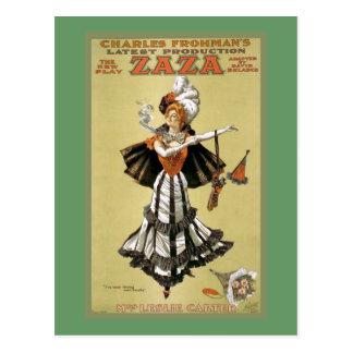 """Cartão Postal Teatro do vintage de """"Zaza"""""""