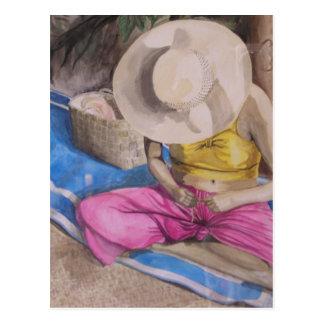Cartão Postal Tecelão da cesta de Tahiti