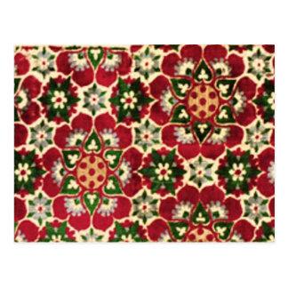Cartão Postal Tecido florescido vermelho de Medici