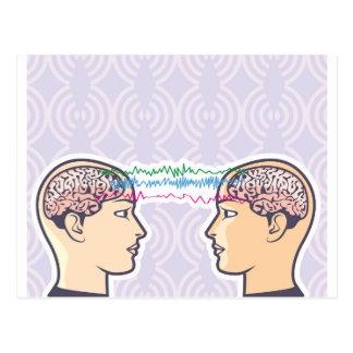 Cartão Postal Telepatia entre cérebros humanos através dos