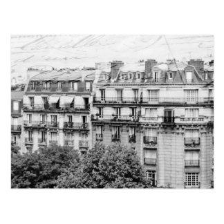 Cartão Postal Telhados de Paris em preto e branco