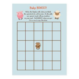 Cartão Postal Tema do animal de fazenda do jogo do BINGO do chá