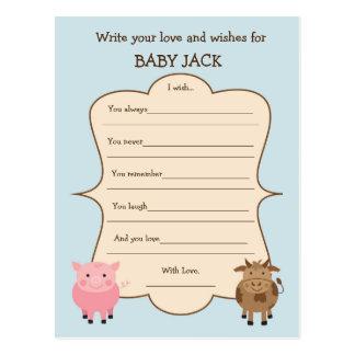 Cartão Postal Tema do animal de fazenda do jogo do desejo do chá