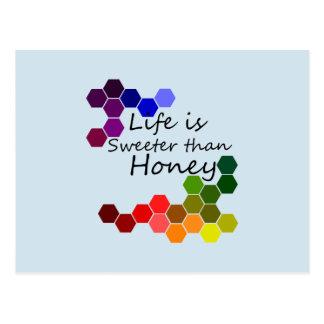 Cartão Postal Tema do mel com palavras positivas