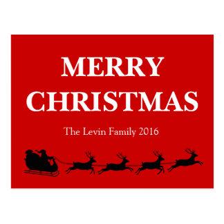 Cartão Postal Tema do Natal da rena da equitação de Papai Noel