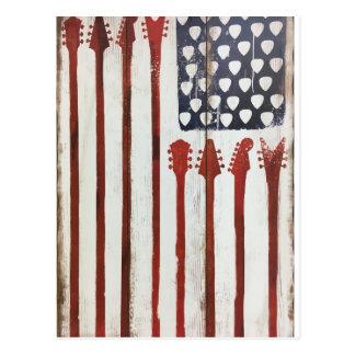 Cartão Postal Tema patriótico da música da guitarra da bandeira