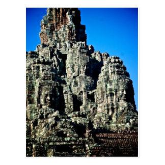 Cartão Postal Templo de Bayon em Angkor, Cambodia