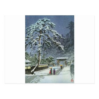 Cartão Postal Templo de Honmonji na neve - 川瀬巴水 de Kawase Hasui