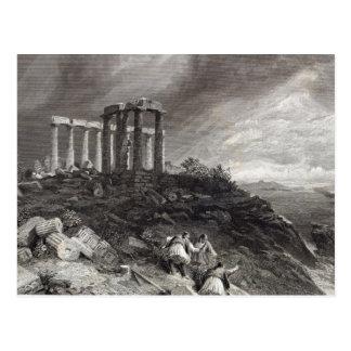 Cartão Postal Templo de Minerva Sunium, gravado por J. Saddler