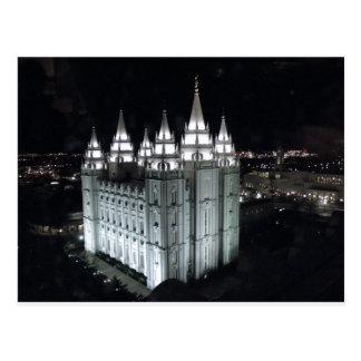 Cartão Postal Templo de Salt Lake City na noite