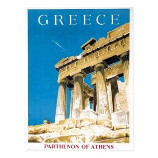 Cartão Postal Templo do Partenon da piscina de Atenas das