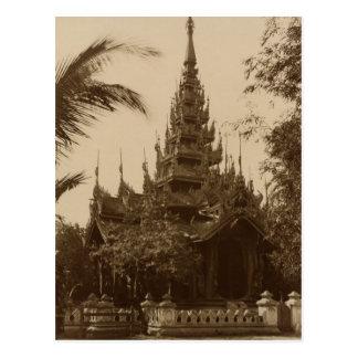 Cartão Postal Templo em Mandalay, Burma, final do século XIX