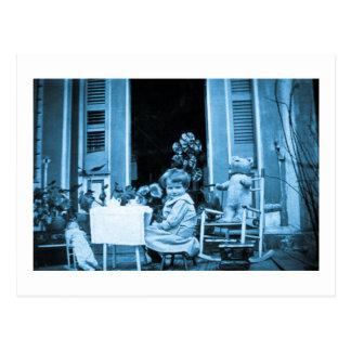 Cartão Postal Tempo do chá com amigos (azul tonificado)