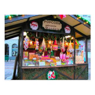 Cartão Postal Tenda alemão do Natal, dos doces e da pipoca