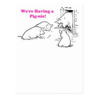 Cartão Postal Tendo uns desenhos animados engraçados do porco do