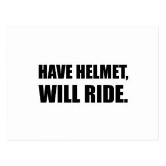 Cartão Postal Tenha o capacete montará