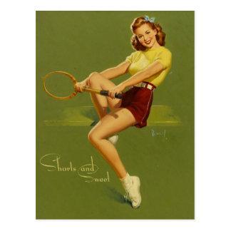 Cartão Postal Ténis PinUp Girl