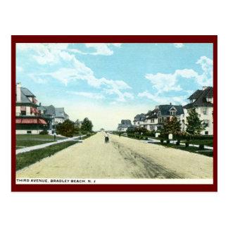 Cartão Postal Terceira avenida, praia de Bradley, vintage de NJ