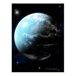 Cartão Postal Terra do planeta com estrelas toda ao redor