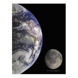 Cartão Postal Terra e lua