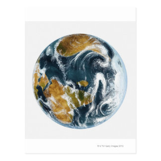 Cartão Postal Terra e nuvens do planeta vistas do espaço