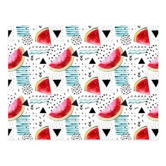 Cartão Postal Teste padrão abstrato da melancia