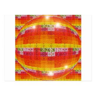 Cartão Postal Teste padrão alaranjado da bola do disco