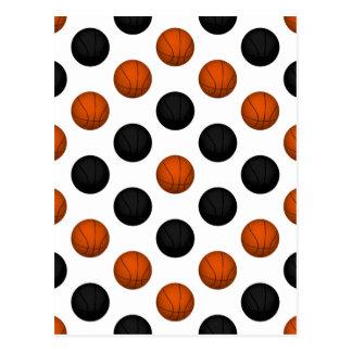 Cartão Postal Teste padrão alaranjado e preto do basquetebol